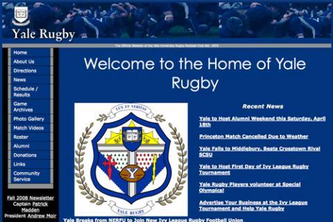 Featured Web site: www.yale.edu/rugby/